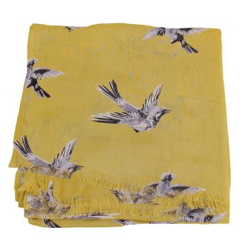 Shawl Swinging bird viscose Ocre