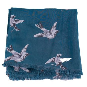 Shawl Swinging bird viscose N.Blue