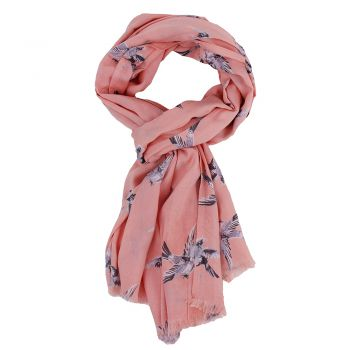 Shawl Swinging bird viscose Salmon