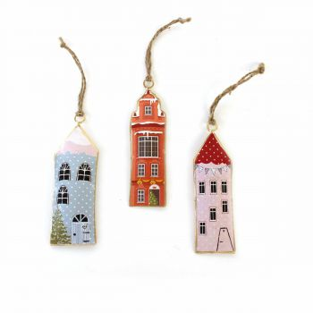 Hanging Houses Happy, set of 3